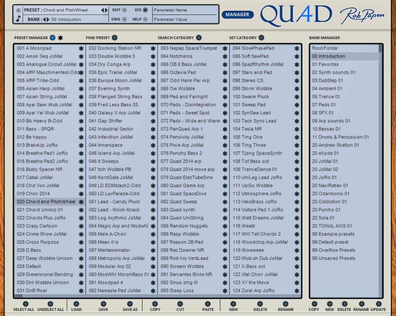 Rob Papen QUAD Review preset manager